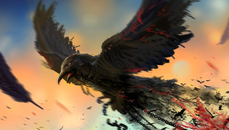 Bird-Chain-Art-Raven-Dark-Blood